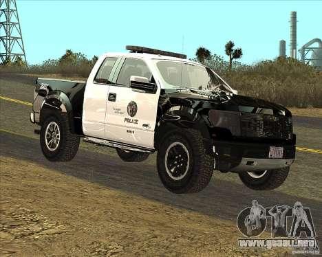 Ford Raptor Police para GTA San Andreas left