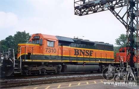 Locomotora SD 40 Unión Pacífico BNSF para GTA San Andreas vista hacia atrás