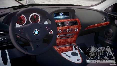 BMW M6 2010 v1.5 para GTA 4 visión correcta