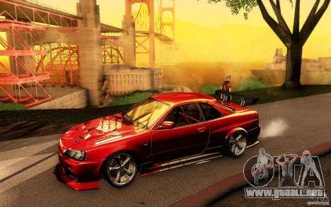 Nissan Skyline GT-R34 para GTA San Andreas interior