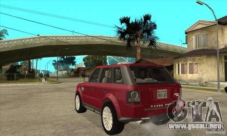 Land Rover Range Rover Sport HSE para GTA San Andreas vista posterior izquierda