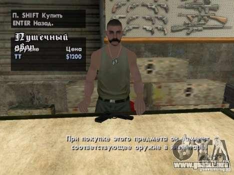 Armas Pak domésticos para GTA San Andreas sucesivamente de pantalla