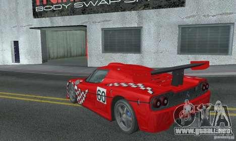 Ferrari F50 GT (v1.0.0) para GTA San Andreas vista posterior izquierda