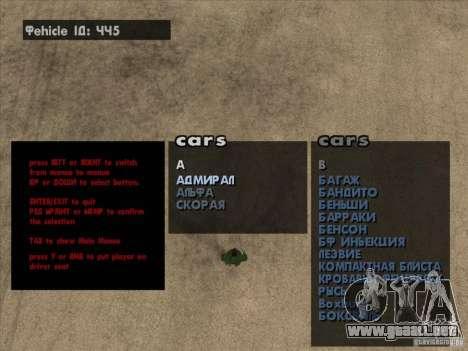 Máquinas de vehículo desove Premium-Spauner para GTA San Andreas segunda pantalla