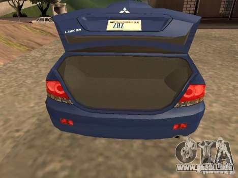 Mitsubishi Lancer 1.6 para GTA San Andreas vista hacia atrás
