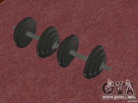 Nuevos pesas en el gimnasio para GTA San Andreas segunda pantalla