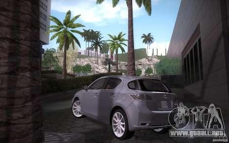 Lexus CT200H 2011 para GTA San Andreas vista posterior izquierda