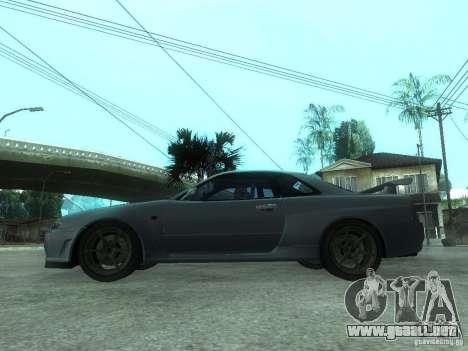 Nissan Skyline GT-R34 V-Spec para GTA San Andreas left