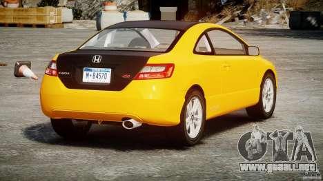 Honda Civic Si Coupe 2006 v1.0 para GTA 4 Vista posterior izquierda