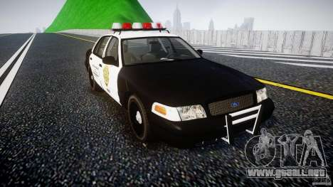 Ford Crown Victoria Raccoon City Police Car para GTA 4 vista hacia atrás