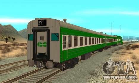 THE GO Transit Train para GTA San Andreas vista posterior izquierda