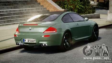 BMW M6 2010 v1.5 para GTA 4 Vista posterior izquierda