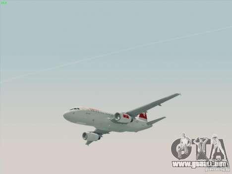 Airbus A319-112 Swiss International Air Lines para GTA San Andreas vista posterior izquierda