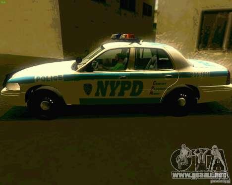 Ford Crown Victoria 2003 NYPD police para GTA San Andreas vista posterior izquierda