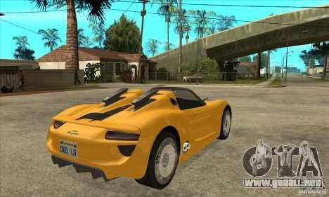 Porsche 918 Spyder para la visión correcta GTA San Andreas