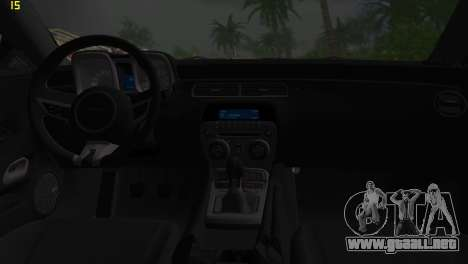 Chevrolet Camaro SS 2010 para GTA Vice City vista interior