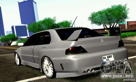Mitsubishi Lancer Evo VII para GTA San Andreas left