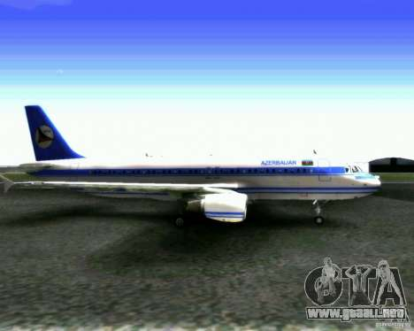 Airbus A-320 Azerbaijan Airlines para GTA San Andreas vista posterior izquierda