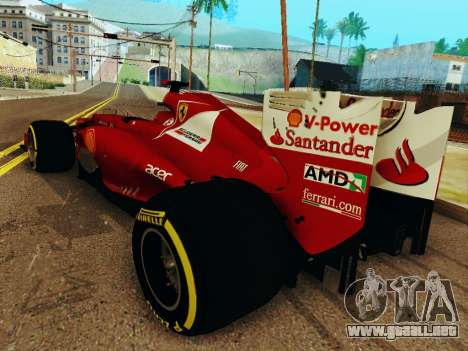 Ferrari F2012 para GTA San Andreas vista posterior izquierda
