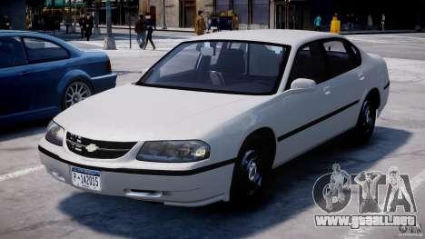 Chevrolet Impala Unmarked Police 2003 v1.0 [ELS] para GTA 4 vista hacia atrás
