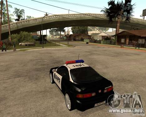 Honda Integra 1996 SA POLICE para GTA San Andreas vista posterior izquierda