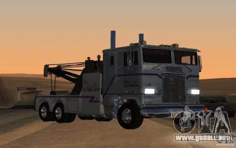 Kenworth K100 Towtruck para GTA San Andreas vista posterior izquierda