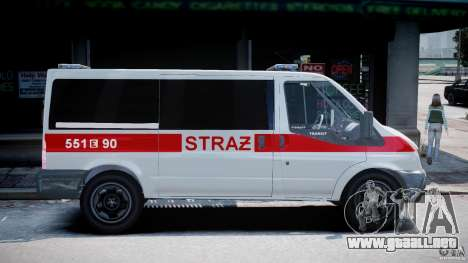 Ford Transit Polish Firetruck [ELS] para GTA 4 vista hacia atrás