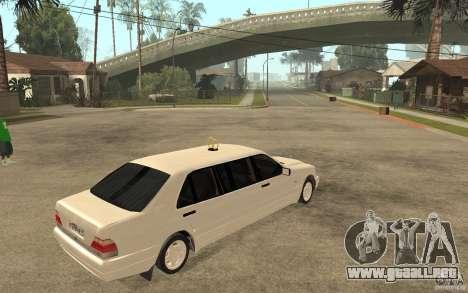 Mercedes-Benz S600 W140 1998 Pullman para la visión correcta GTA San Andreas
