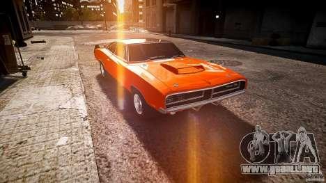 Deportivo Dodge cargador RT 1969 tun v1.1 para GTA 4 vista hacia atrás