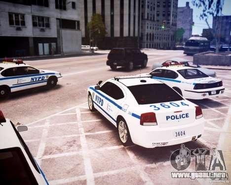 Dodge Charger 2010 NYPD ELS para GTA 4 Vista posterior izquierda