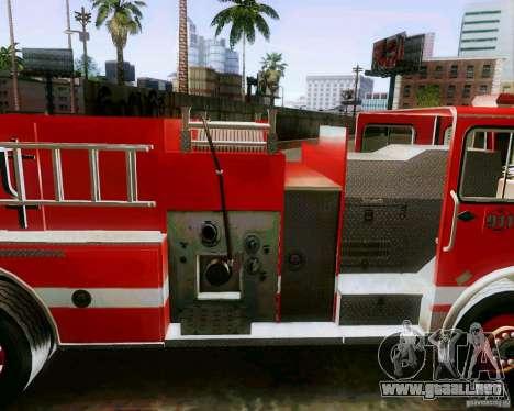 Pumper Firetruck Los Angeles Fire Dept para GTA San Andreas vista posterior izquierda