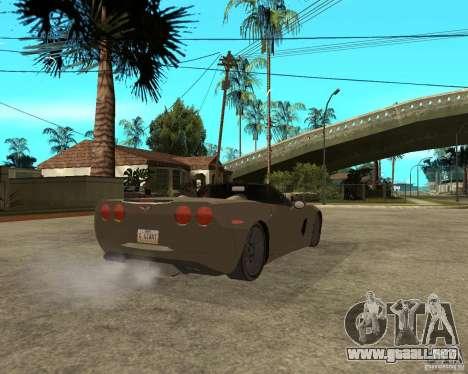 2005 Chevy Corvette C6 para GTA San Andreas vista posterior izquierda