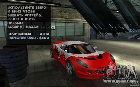 Lotus Elise from NFSMW para visión interna GTA San Andreas