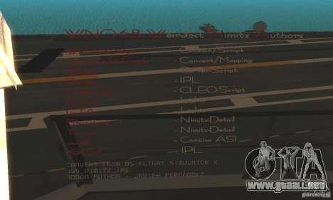 CVN-68 Nimitz para GTA San Andreas segunda pantalla