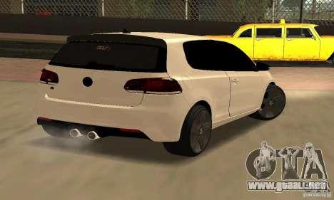 Volkswagen Golf R Modifiye para GTA San Andreas vista posterior izquierda