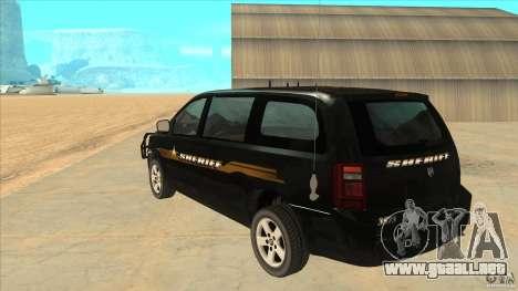 Dodge Caravan Sheriff 2008 para GTA San Andreas vista posterior izquierda