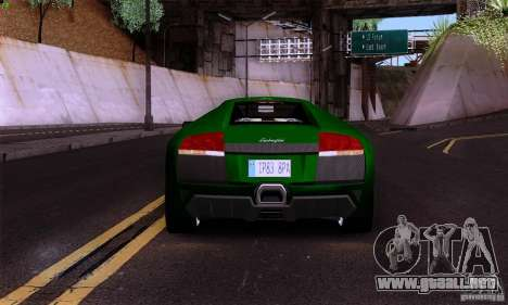 Lamborghini Murcielago LP640 para GTA San Andreas vista posterior izquierda