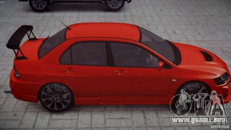 Mitsubishi Lancer Evolution 8 v2.0 para GTA 4 vista hacia atrás