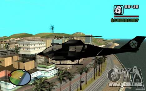 Urban Strike helicopter para GTA San Andreas vista posterior izquierda