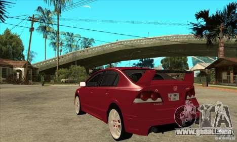 Honda Civic Mugen RR para GTA San Andreas vista posterior izquierda