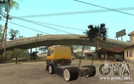 Mercedes Benz Actros Dragster para GTA San Andreas vista posterior izquierda