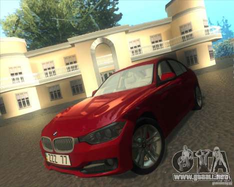 BMW 3 Series F30 2012 para visión interna GTA San Andreas