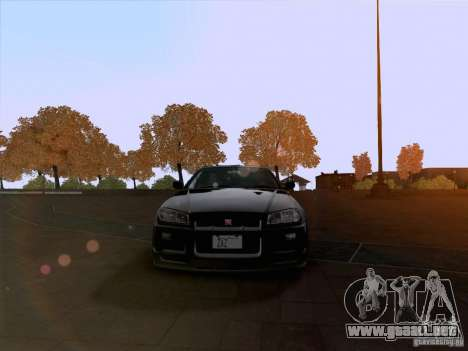 Nissan Skyline GTR R34 para GTA San Andreas vista hacia atrás