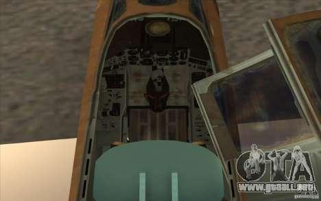 El Su-25 para GTA San Andreas vista hacia atrás