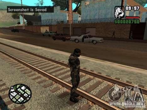 Crysis Nano Suit para GTA San Andreas sucesivamente de pantalla