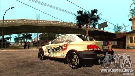 BMW 135i Coupe GP Edition Skin 1 para GTA San Andreas vista posterior izquierda