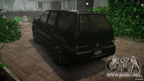 Cavalcade FBI car para GTA 4 Vista posterior izquierda