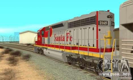 SD40 Santa Fe para GTA San Andreas vista posterior izquierda