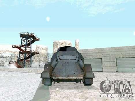 Vehículo blindado de juego tras las líneas enemi para GTA San Andreas vista posterior izquierda