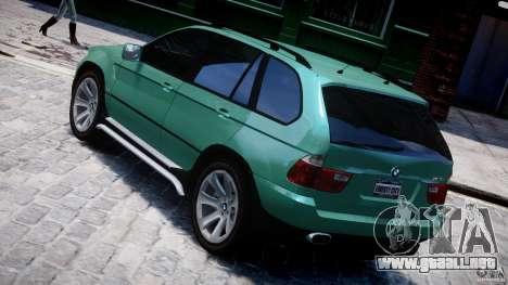 BMW X5 E53 v1.3 para GTA 4 Vista posterior izquierda